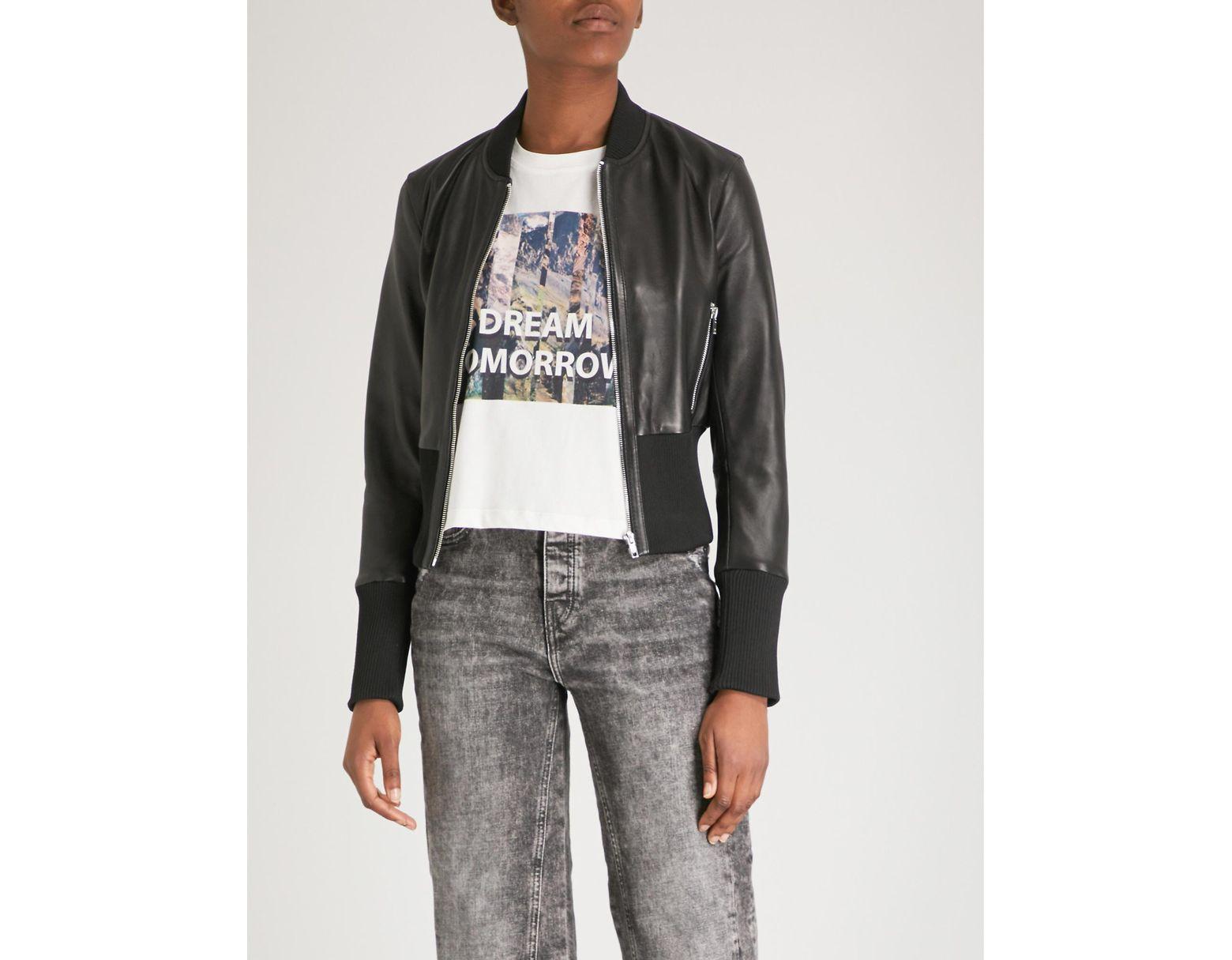 bf83789ce Women's Black Bloti Faux-leather Bomber Jacket