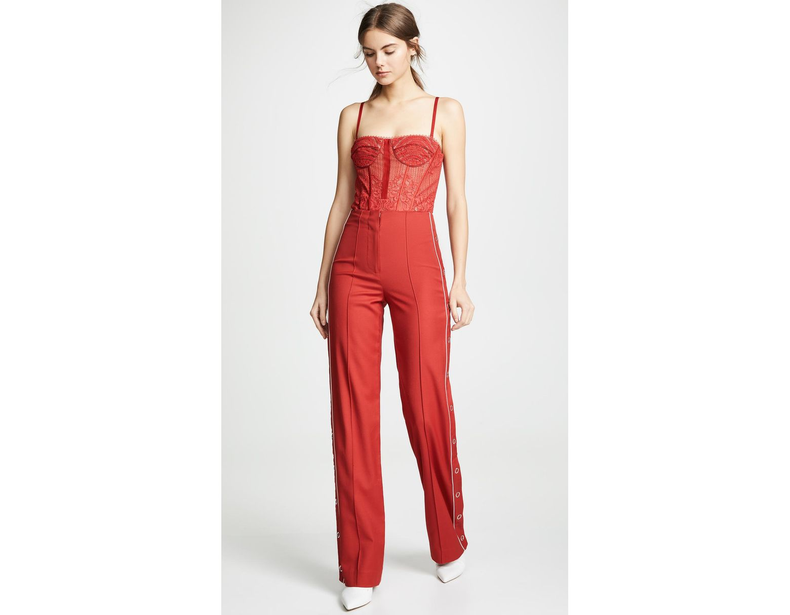 8f765527e Jonathan Simkhai Bustier Bodysuit Top in Red - Save 46% - Lyst