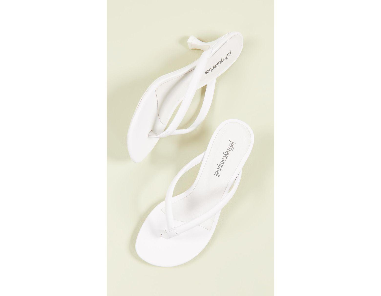 77cf9e4964 Jeffrey Campbell Brink Kitten Heel Flip Flops in White - Save 1% - Lyst