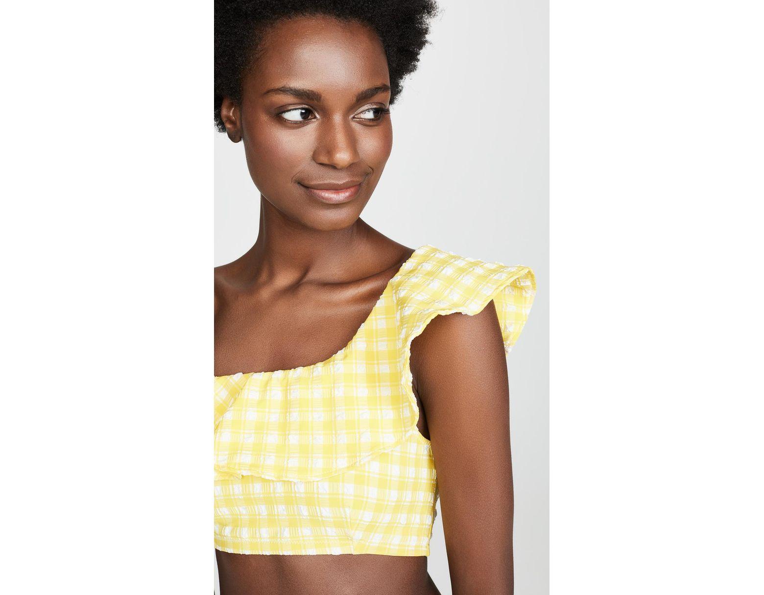 8b9abdf6f9 Ganni Seersucker Bikini Top in Yellow - Save 50% - Lyst