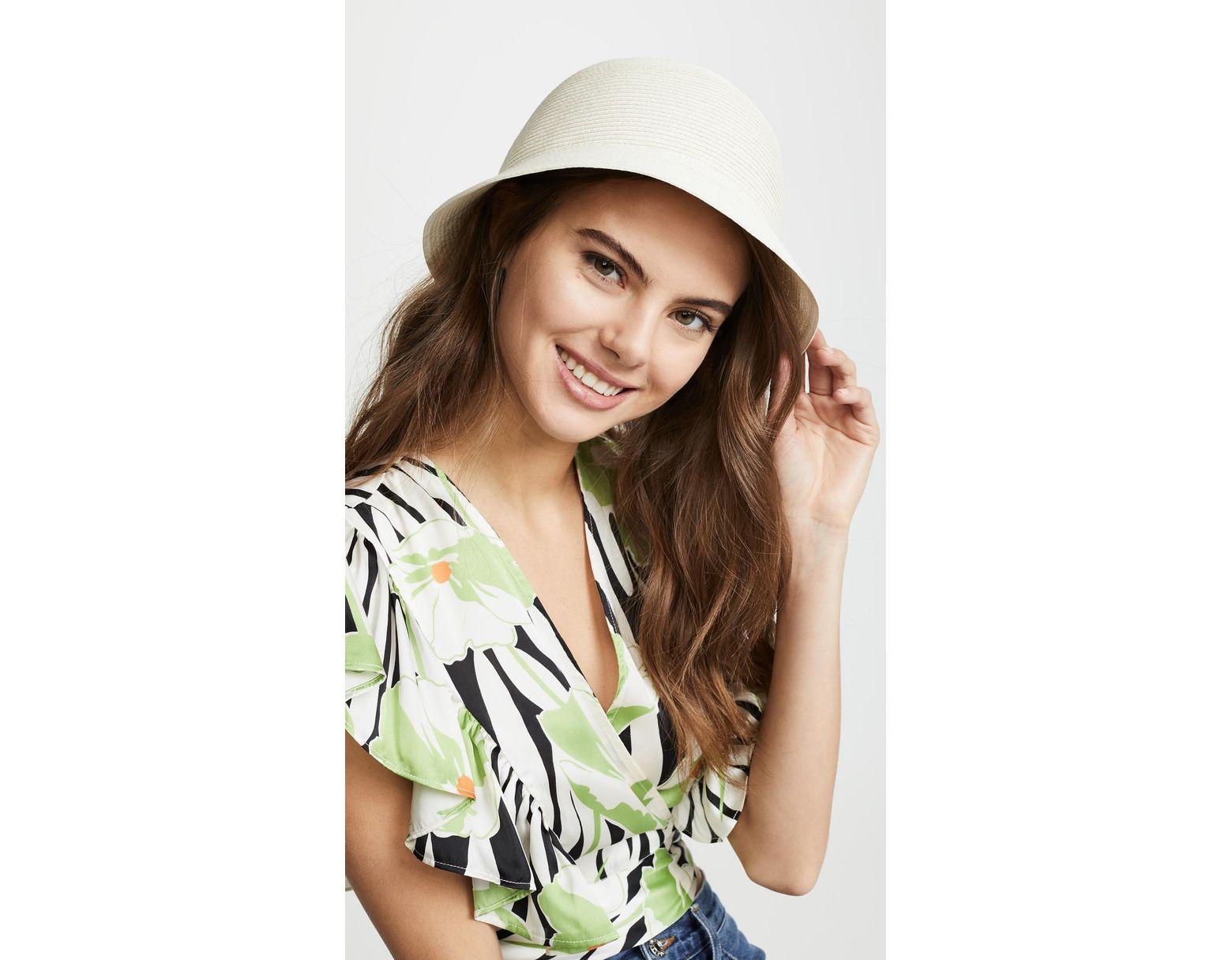 83e7c104 Brixton Essex Straw Bucket Hat in Brown - Lyst