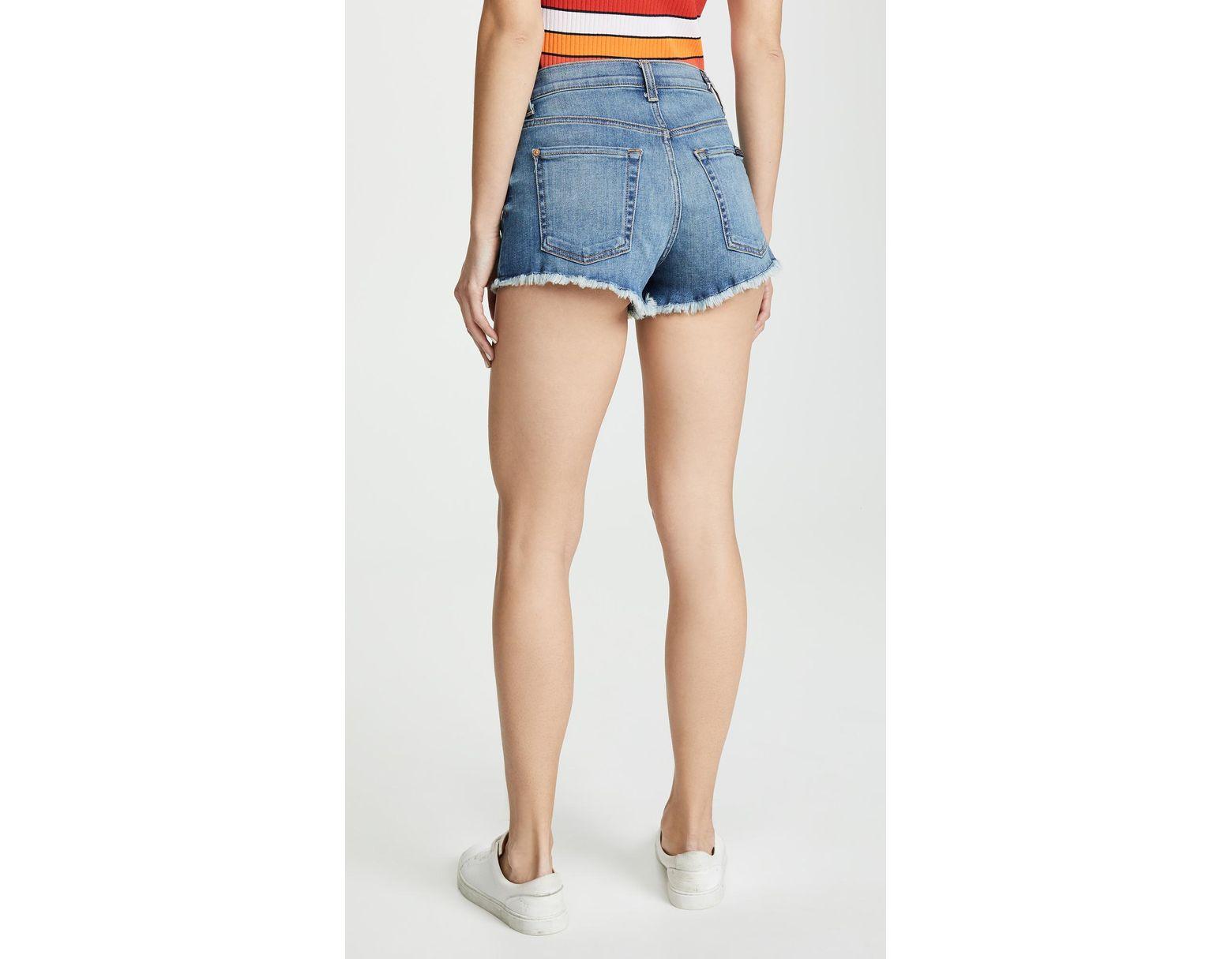 vrouwen Blue High Waist Shorts