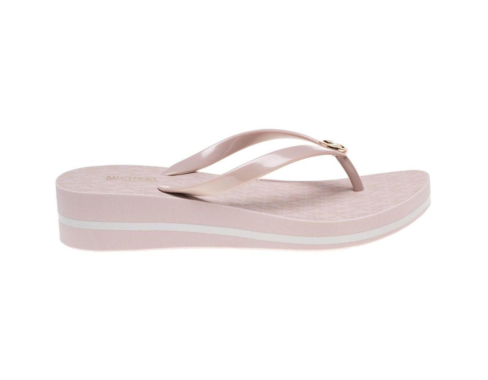 c6b1242ddf8 Michael Kors Bedford Flip Flop Stripe Sandals in Pink - Lyst