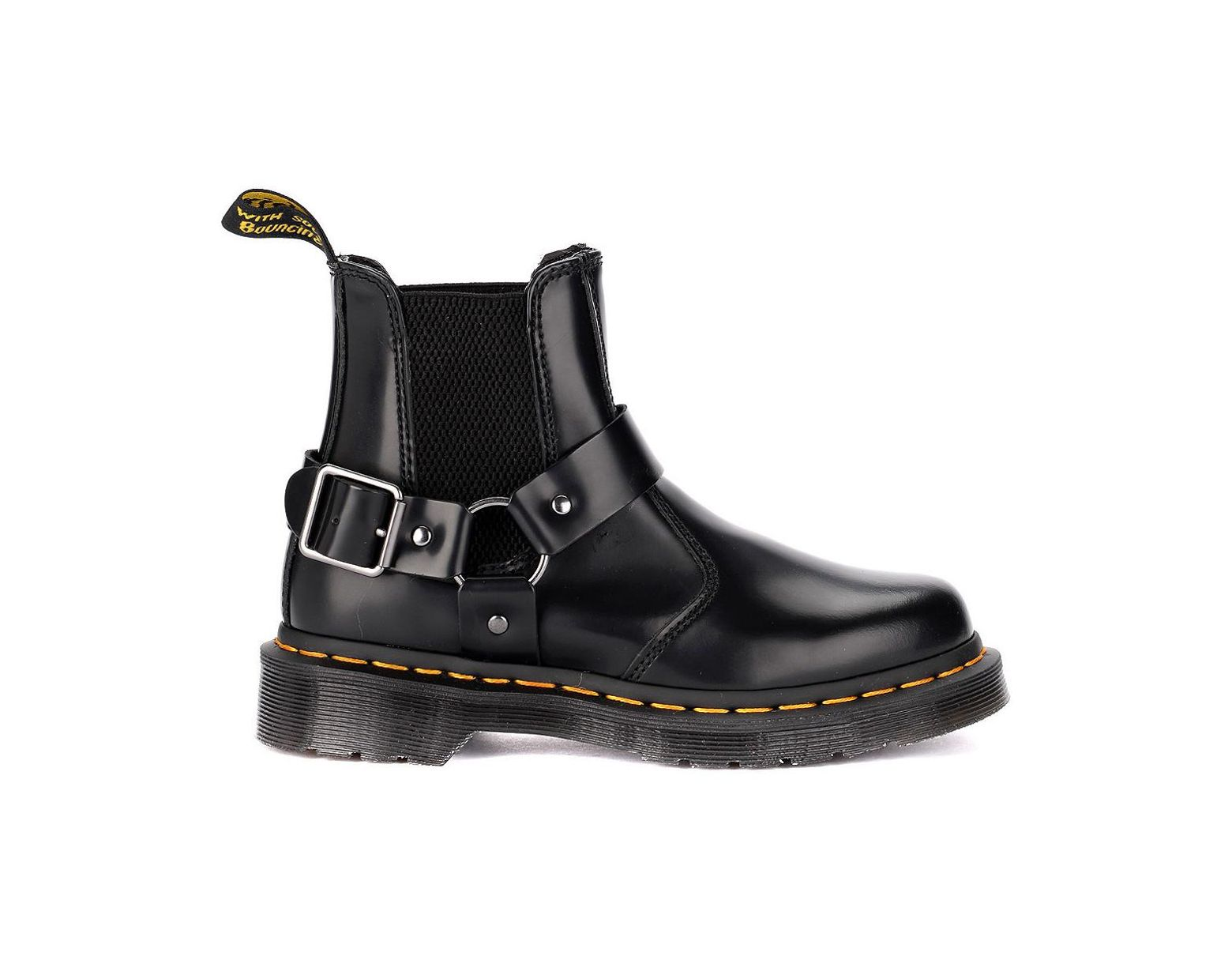9380833cd872b Dr. Martens Wincox Black Leather Ankle Boots With Buckle Men's Mid Boots In  Black in Black for Men - Save 4% - Lyst