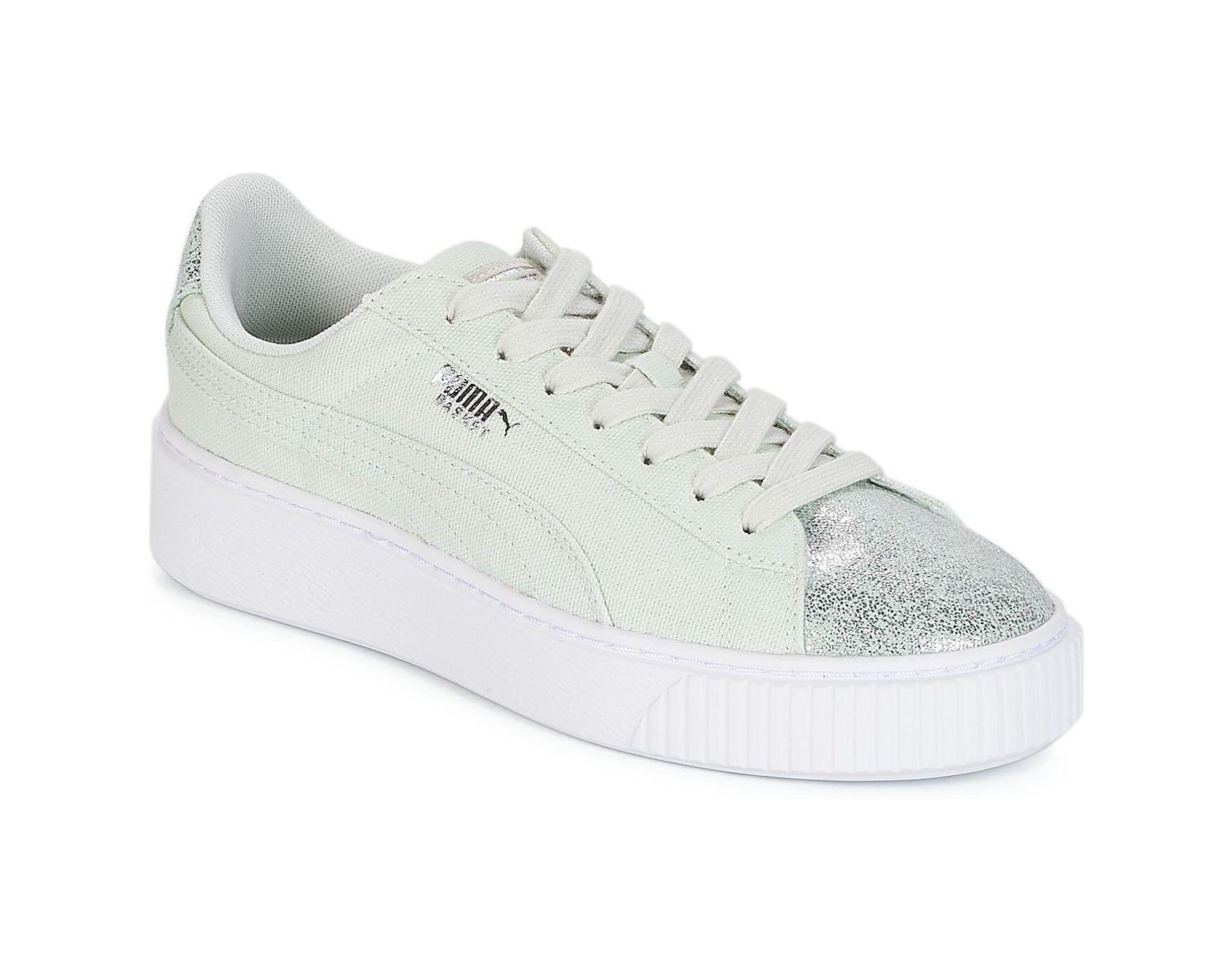 En Vert Chaussures Puma Coloris W's Femmes Platform Canvas Basket wn0Nv8m
