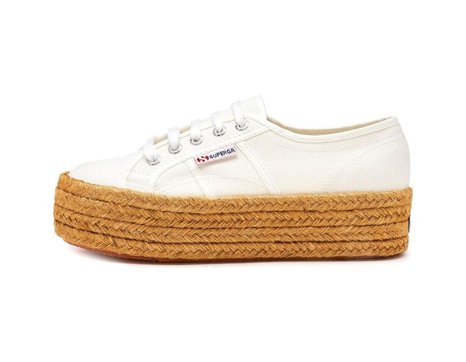 ab7fe68bd52ea Superga 2790 Cotropew Platform Plimsoll Shoes In White 901 Women's  Espadrilles / Casual Shoes In White in White - Lyst