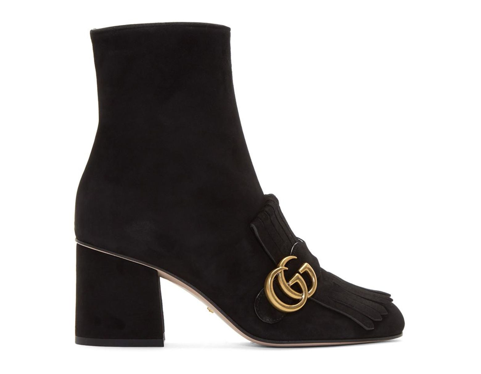 5834c2baa Gucci Black Suede GG Marmont Boots in Black - Lyst