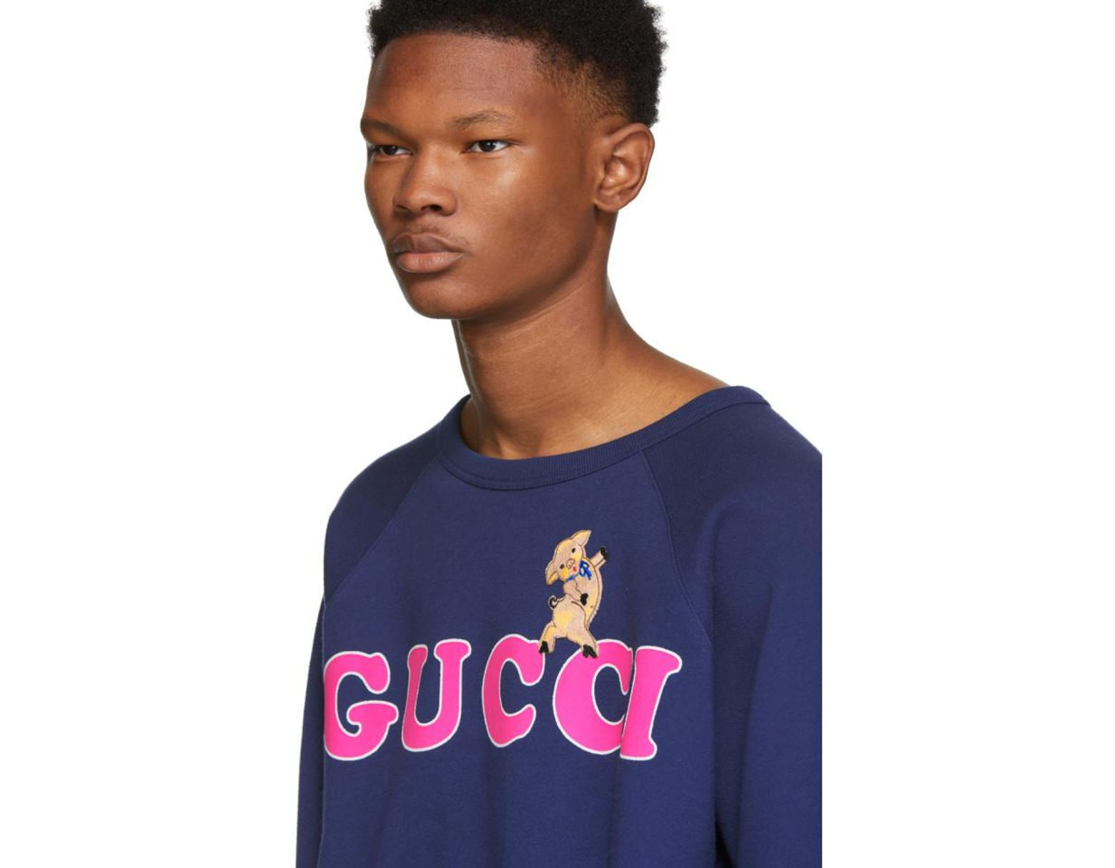 51658f2fed5 Lyst - Gucci Navy Pig Embroidery Sweatshirt in Blue for Men