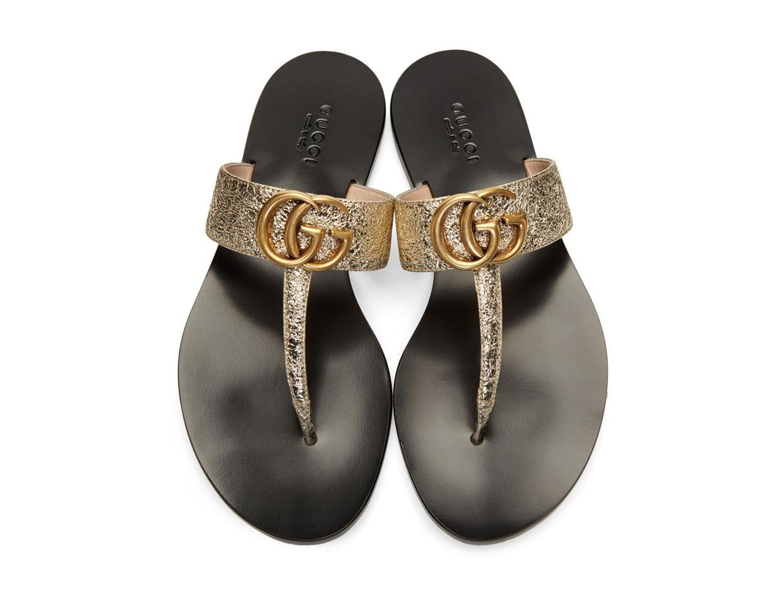 a55e25902 Gucci Gold Double G Leather Thong Sandal. in Metallic - Lyst