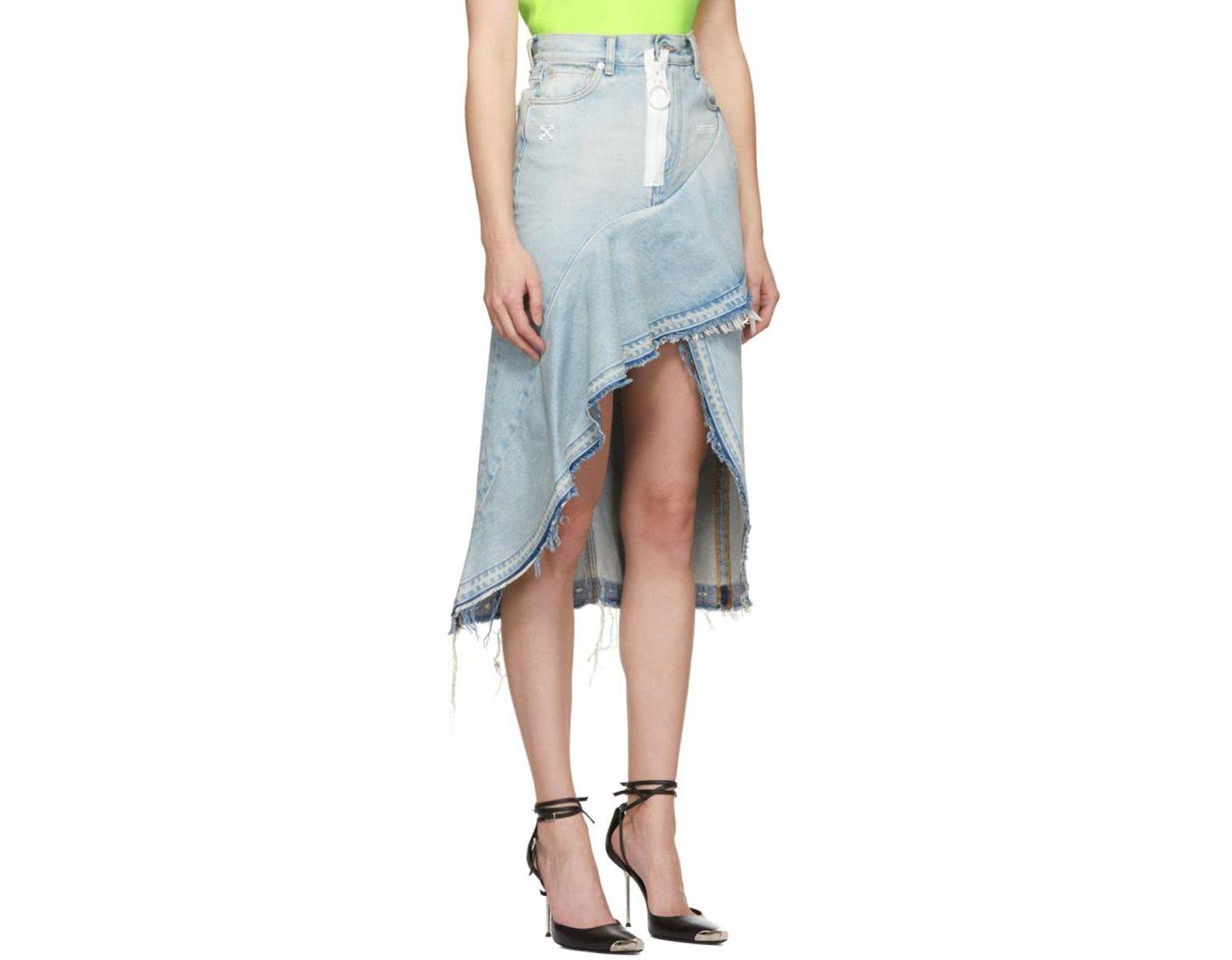 f75a54cc34 Off-White c/o Virgil Abloh Asymmetric Denim Skirt in Blue - Save 67% - Lyst