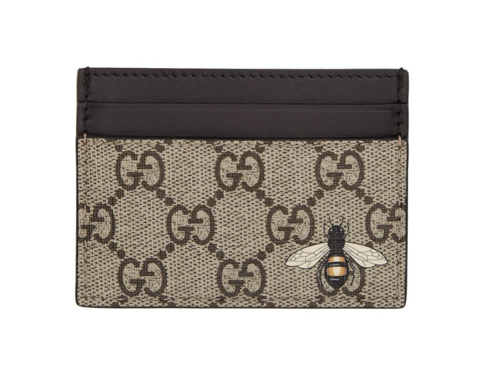 pretty nice 099bc 7a1c0 Men's Natural Beige GG Supreme Bee Card Holder