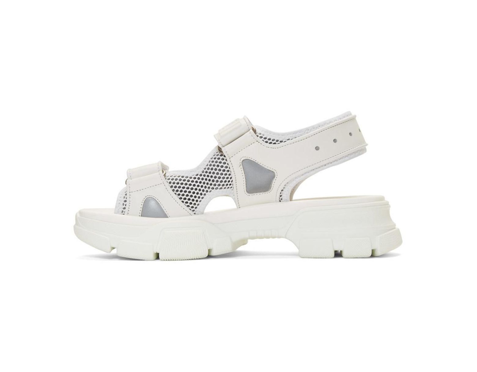 0f7c0333f Gucci Leather And Mesh Sandals in White for Men - Save 12% - Lyst