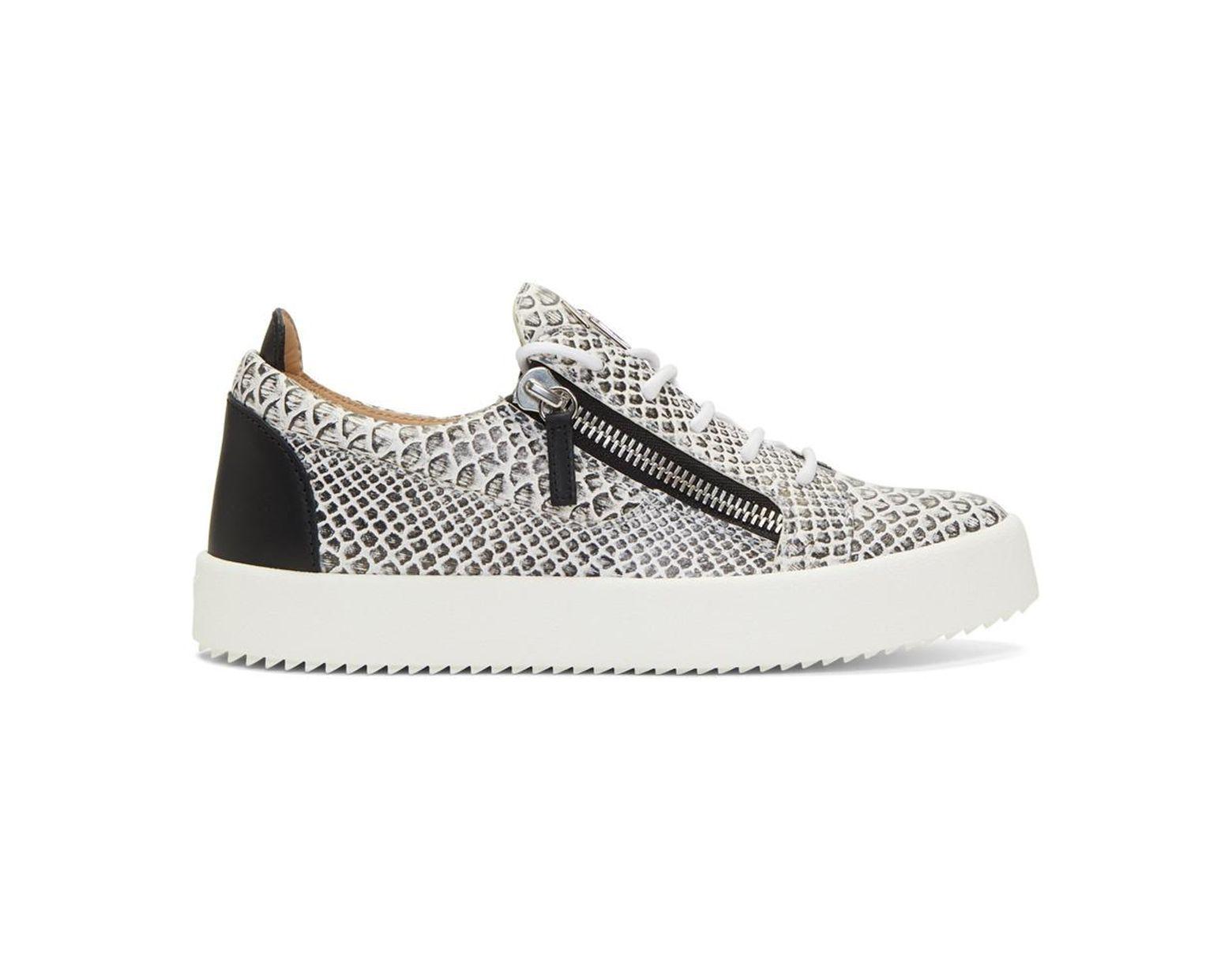 2c70e315729f9 Giuseppe Zanotti White And Black Croc Frankie Sneakers in White for Men -  Lyst