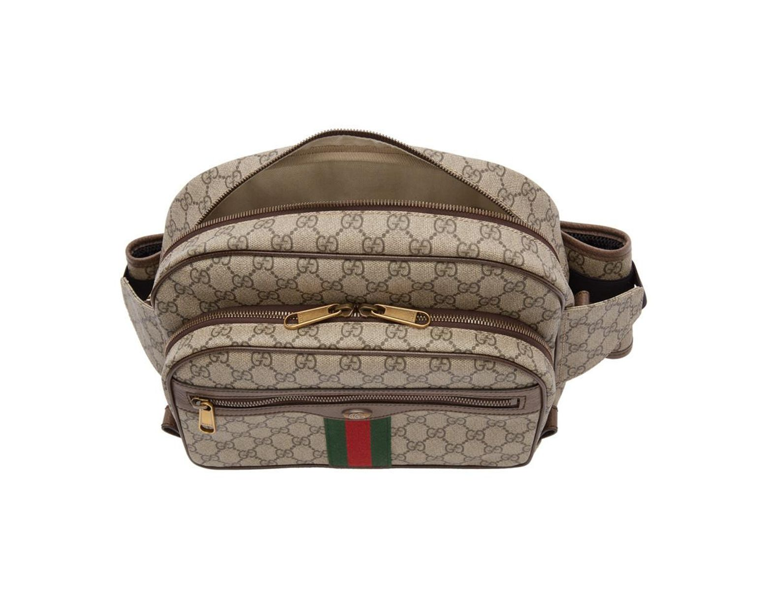 bb998031370 Lyst - Gucci Brown GG Supreme Ophidia Belt Bag in Natural for Men