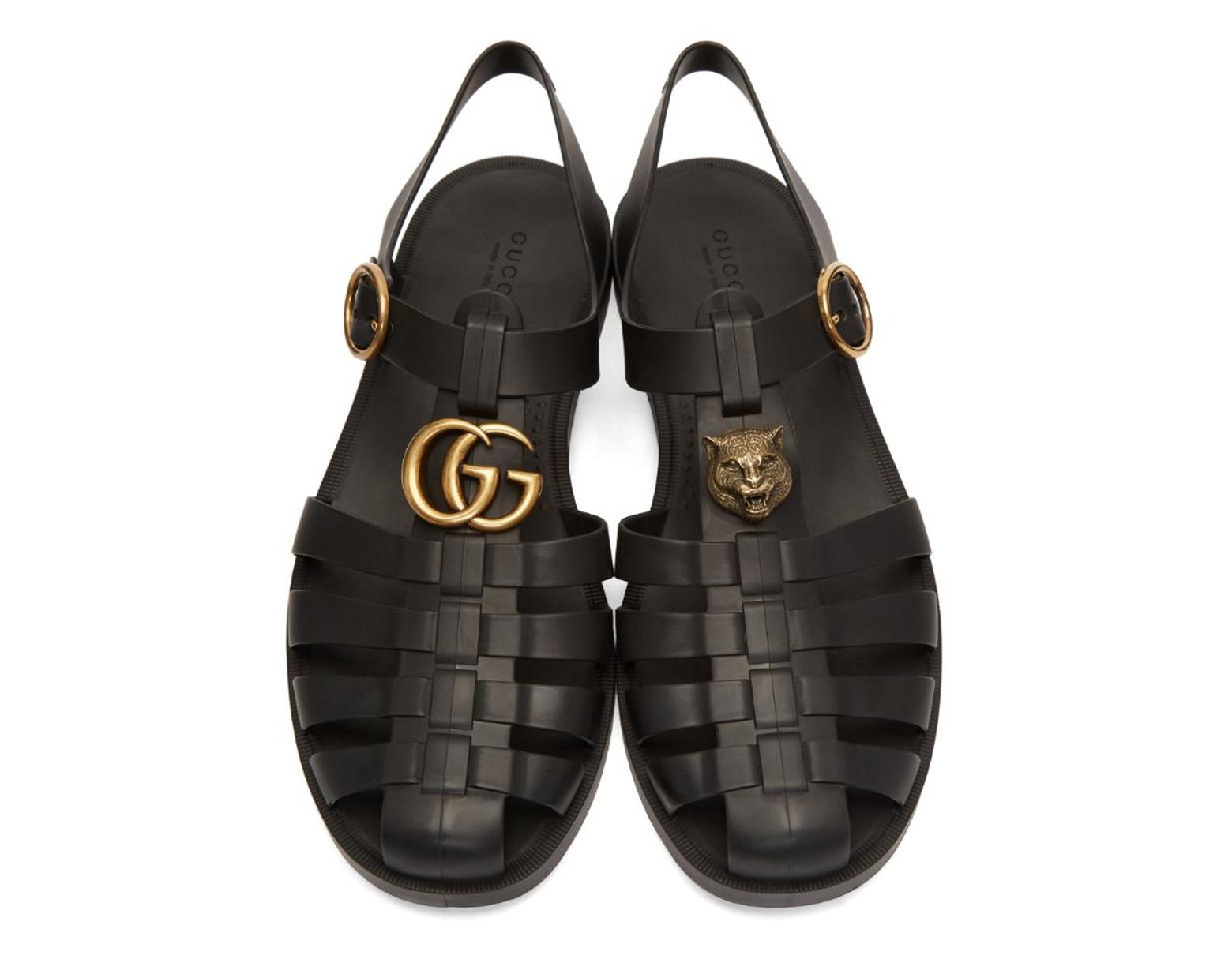 0b2469b5d476 Lyst - Gucci Rubber Buckle Strap Sandals in Black for Men - Save 6%