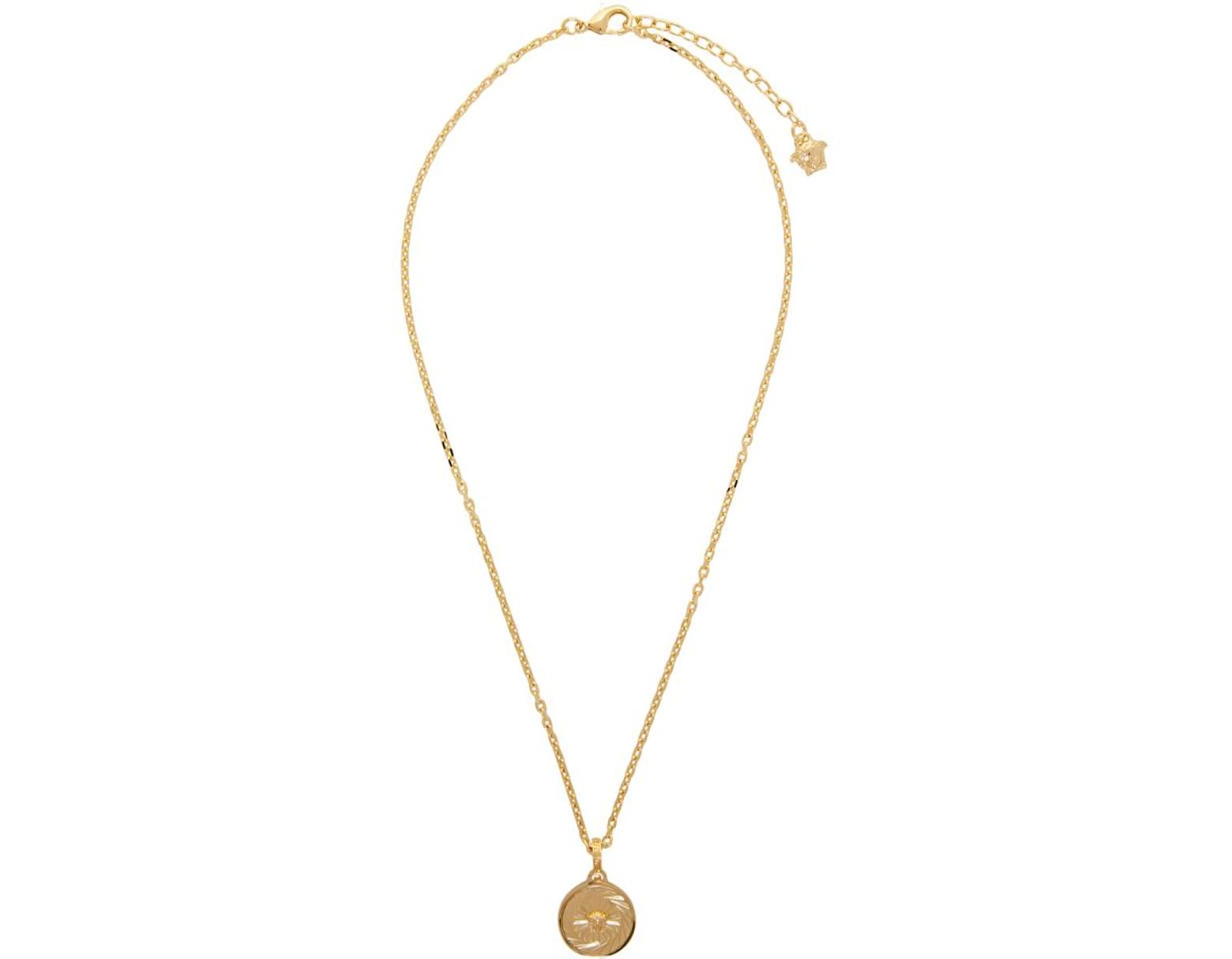 901f254798b07 Men's Metallic Gold Round Medusa Pendant Necklace
