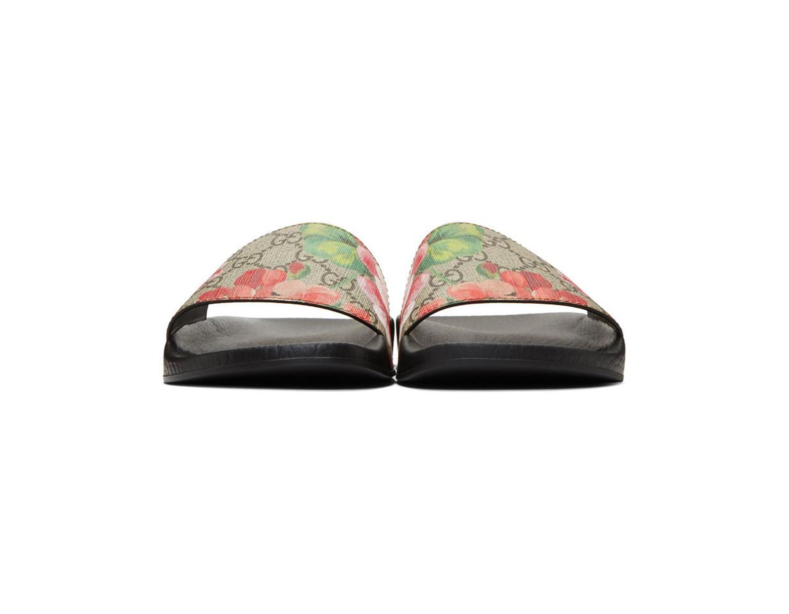 75458abbe Gucci Blooms Supreme Canvas Slides - Lyst