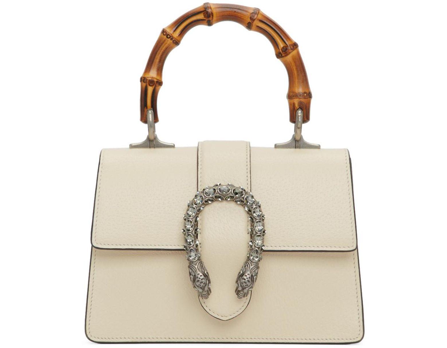 fd6bfca69185 Gucci White Mini Dionysus Top Handle Bag in White - Lyst