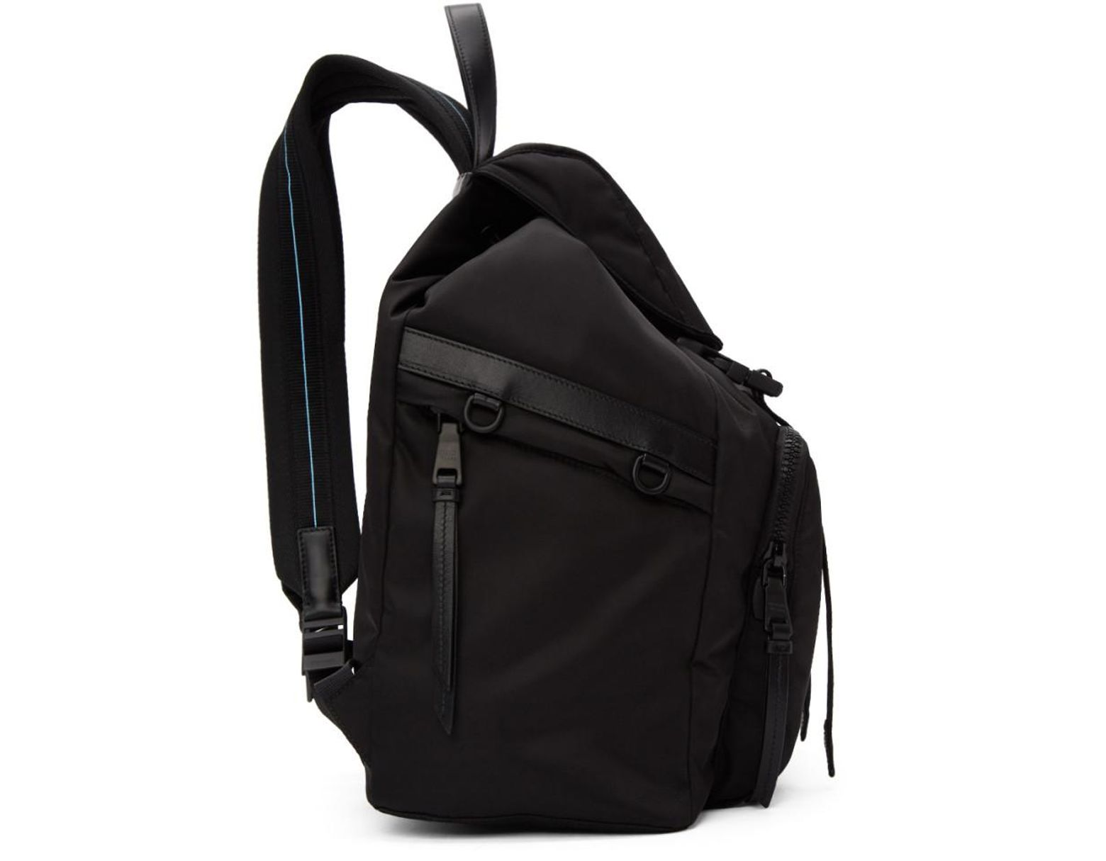de46dc42b129ab Prada Black Nylon Logo Backpack in Black - Save 35% - Lyst