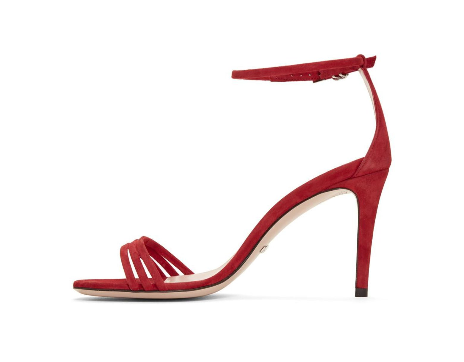694485a85 Gucci Red Suede Isle Heeled Sandals in Red - Save 12% - Lyst