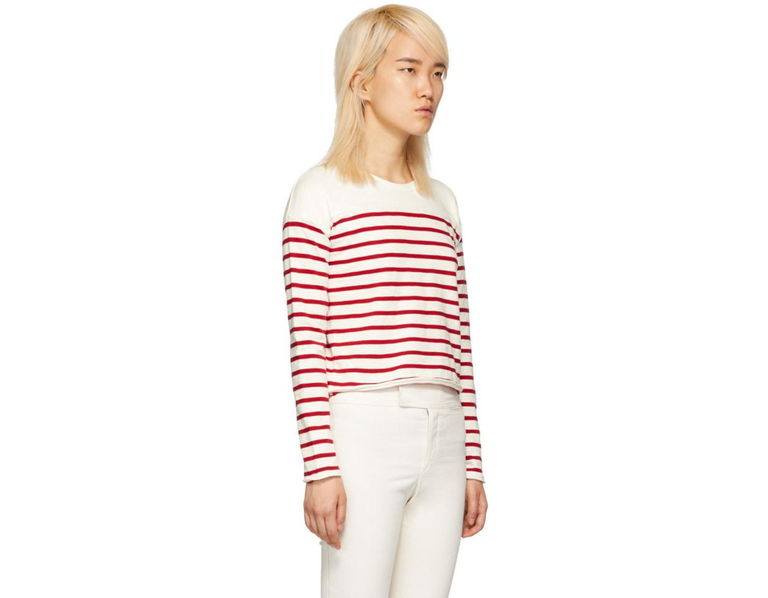 34871a0a1f Rag & Bone White And Red Striped Halsey Long Sleeve T-shirt in Red - Save  58% - Lyst