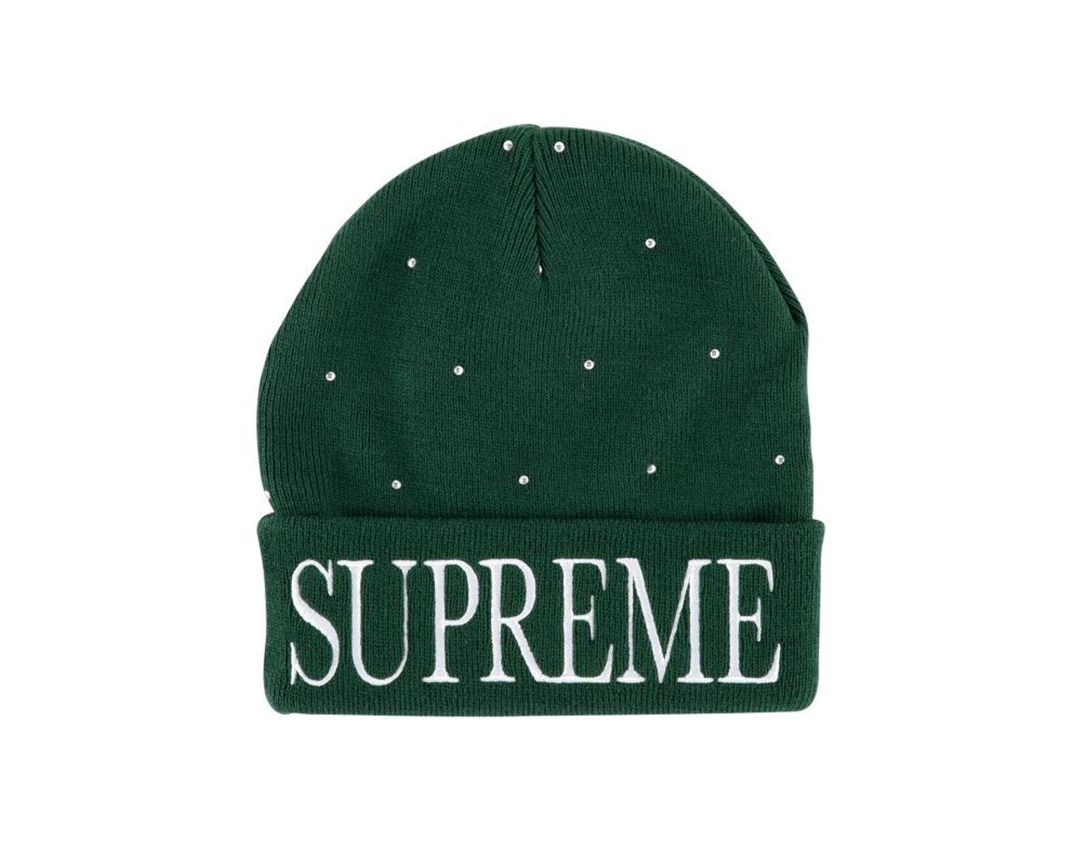 346b130bba0e4 Supreme Studded Beanie in Green for Men - Lyst