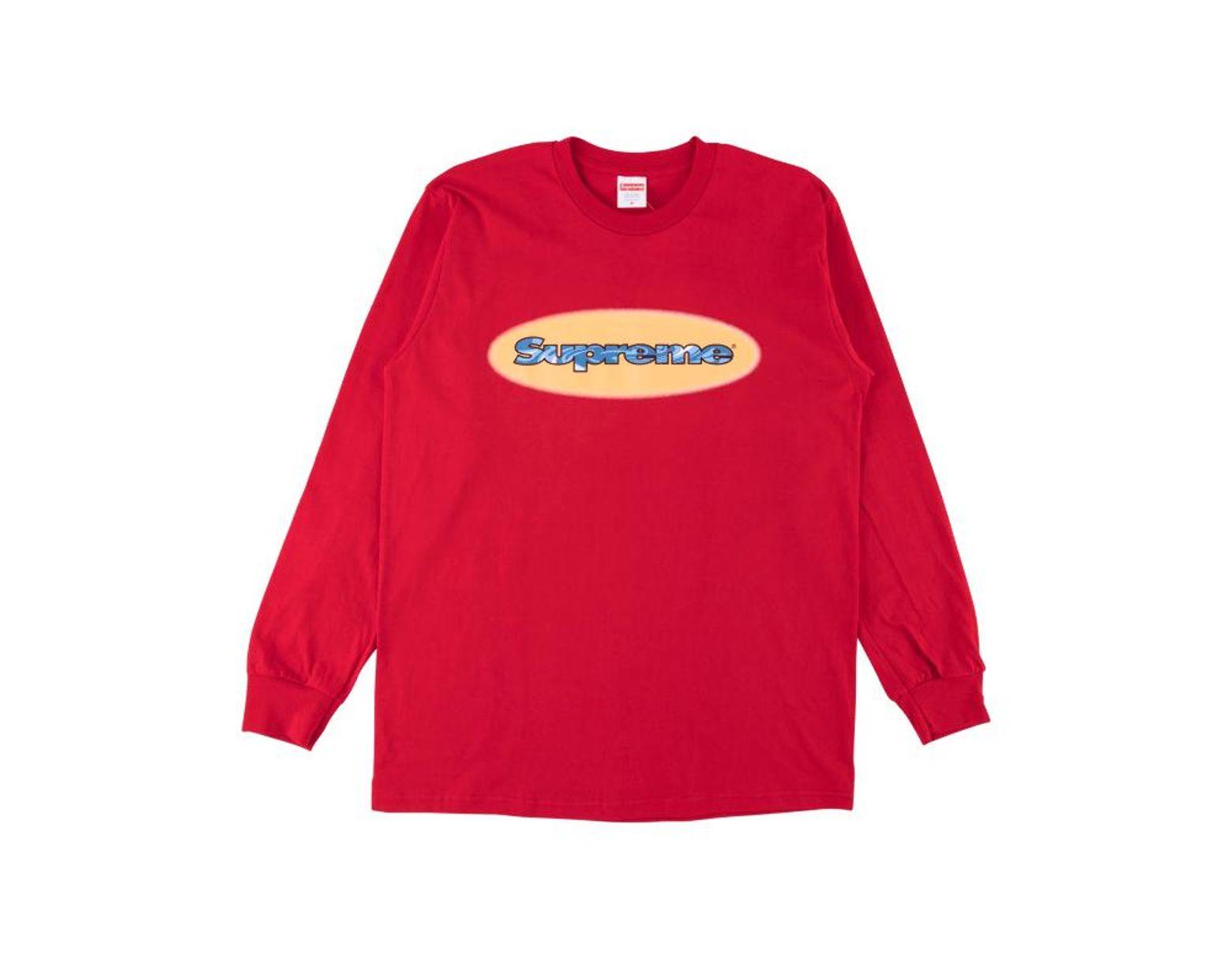 b9d3e7e32a Supreme Ripple Longsleeve T-shirt 'ss 18' in Red for Men - Lyst