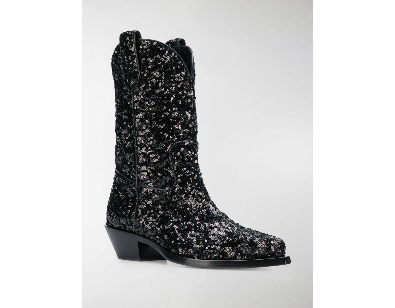 ffc38980e91 Women's Black Gaucho 40 Sequined Cowboy Boots