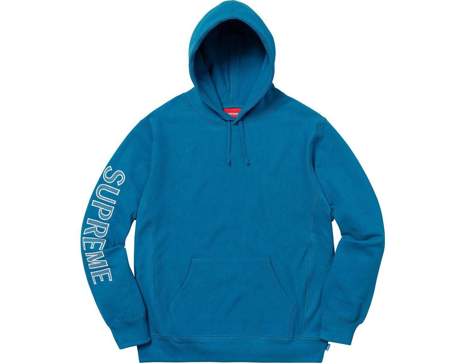 eb98e3e9 Supreme Sleeve Embroidery Hooded Sweatshirt Dark Aqua in Blue for Men - Lyst