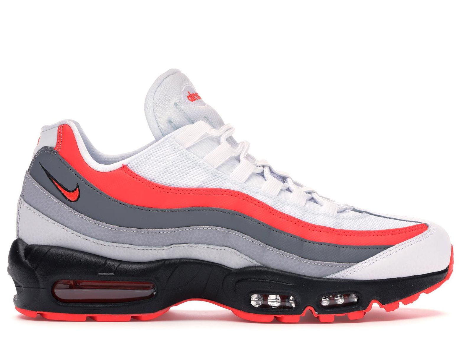 2018 sneakers in stock outlet boutique Men's White Air Max 95 Bright Crimson Comet