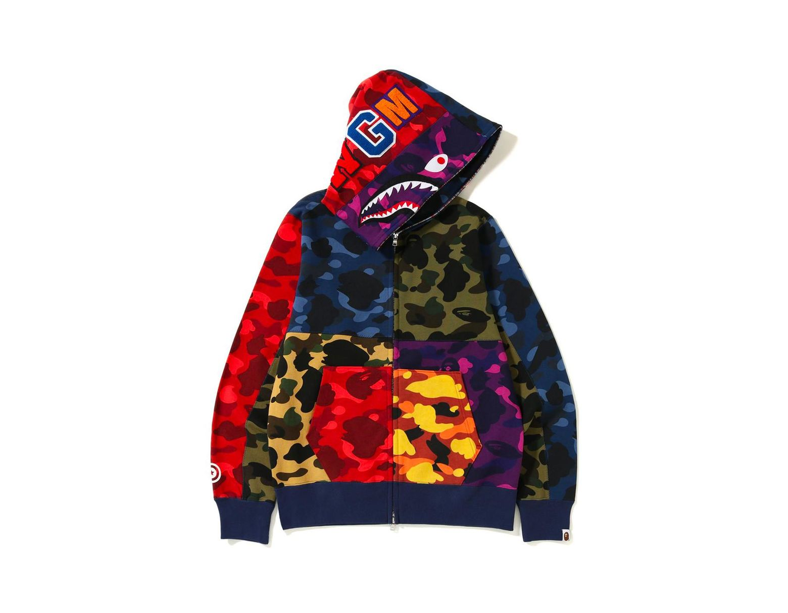 067715d8 A Bathing Ape Mix Camo Shark Hoodie Multi in Red for Men - Lyst