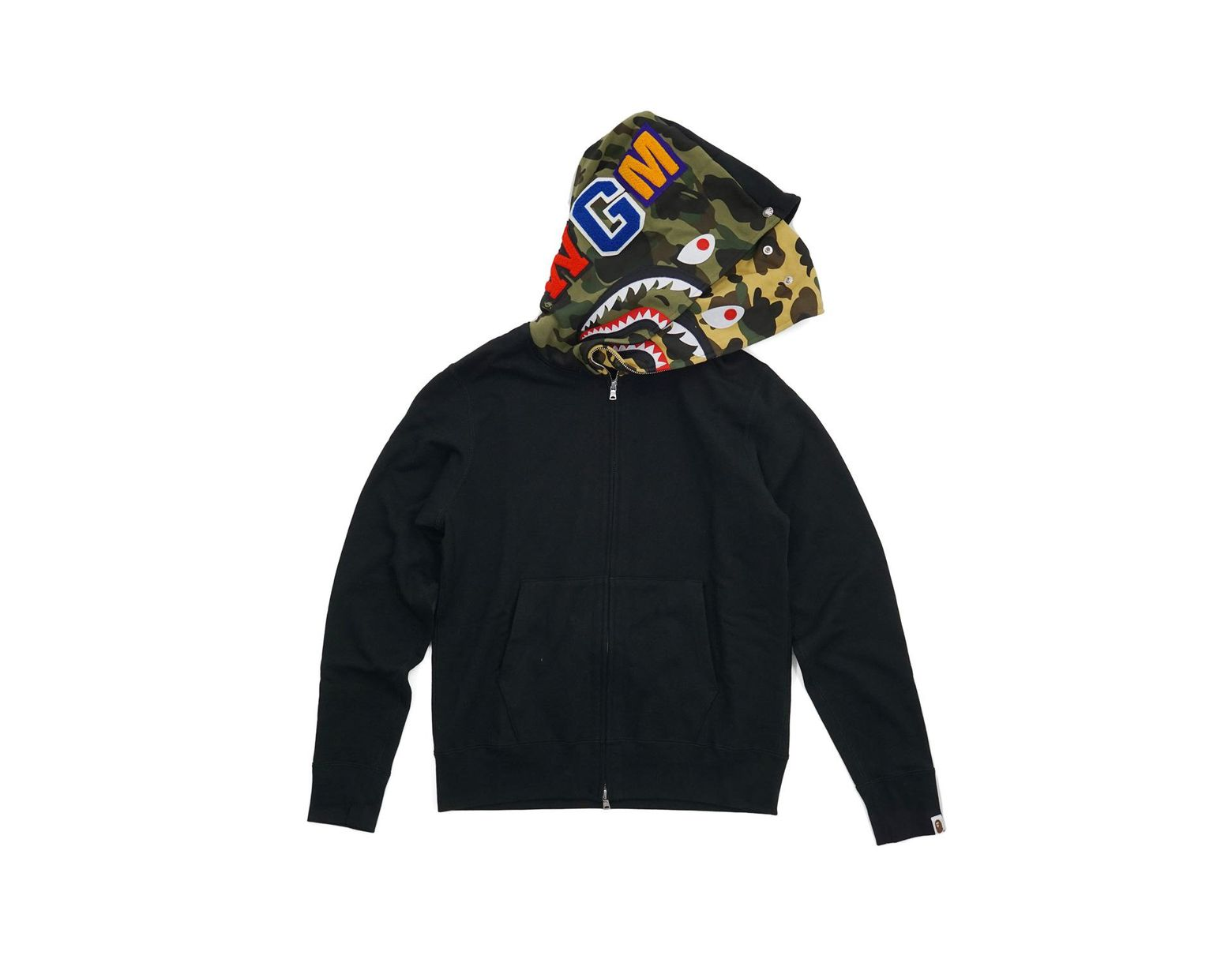 08c70098 A Bathing Ape Half 1st Camo Hood Double Shark Full Zip Hoodie Black in Black  for Men - Lyst