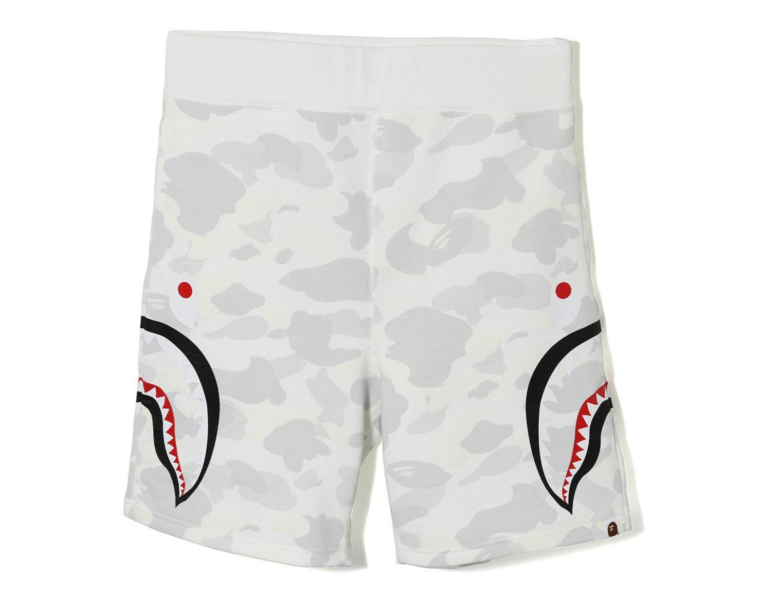 a855b24a A Bathing Ape City Camo Side Shark Sweat Shorts White in White for Men -  Lyst