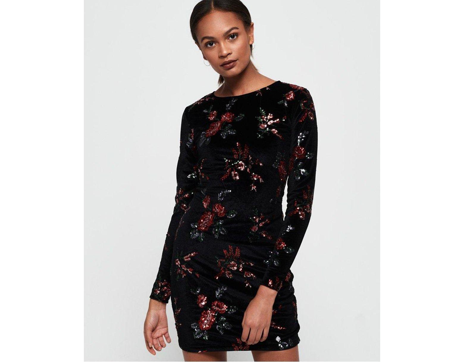 54509152a1 Superdry Melrose Sequin Velvet Dress in Black - Lyst