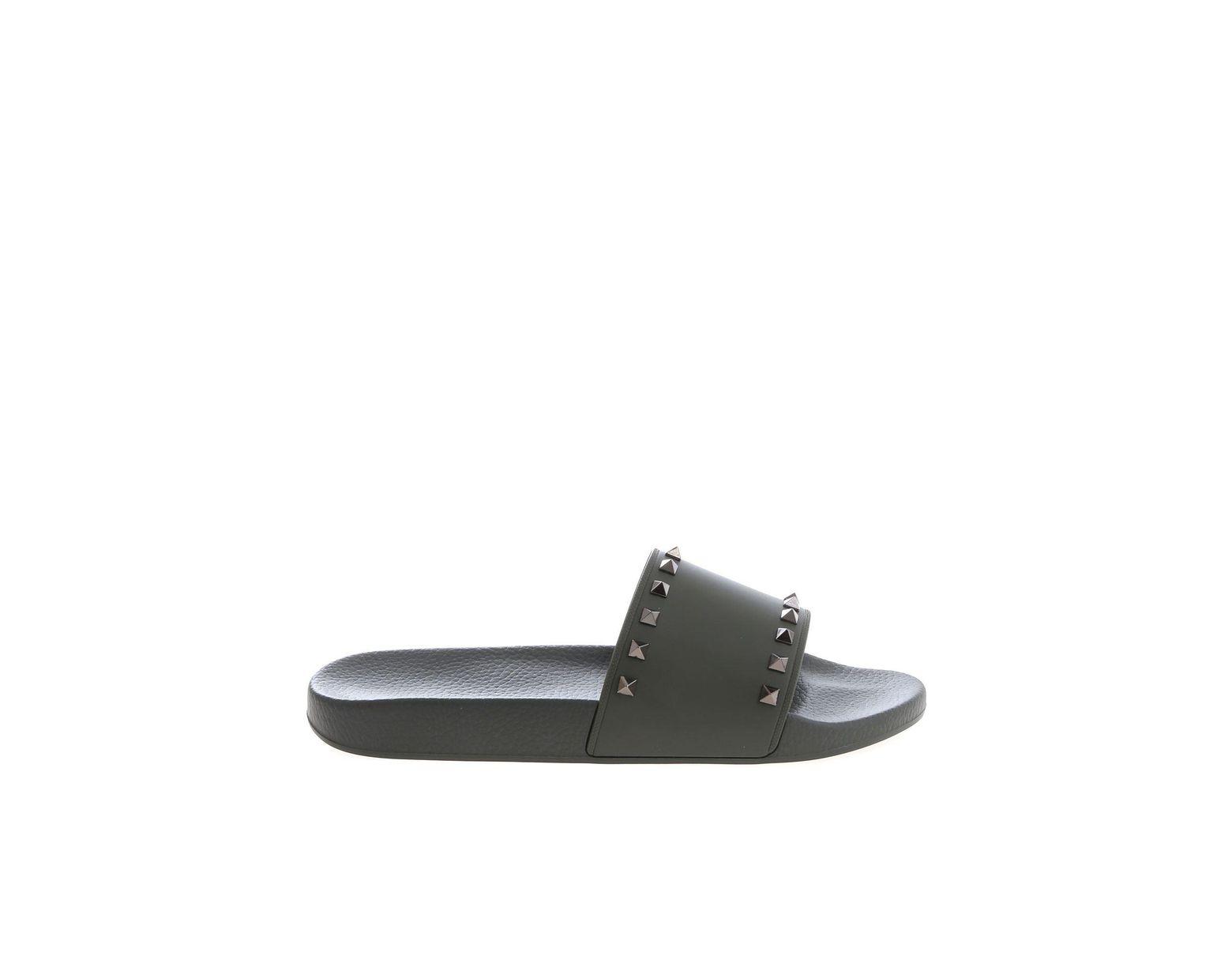33a69561 Men's Rockstud Rubber Slides In Olive Green