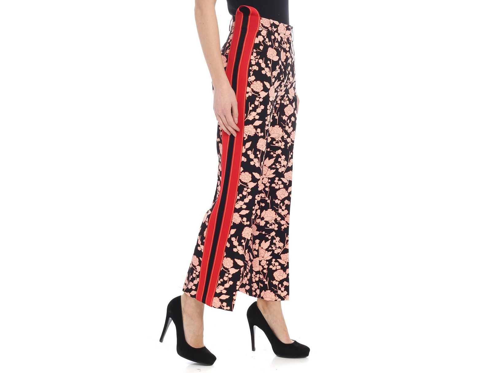 d0b6963e71 Women's Red Pants In Raspberry Printed Black Cady