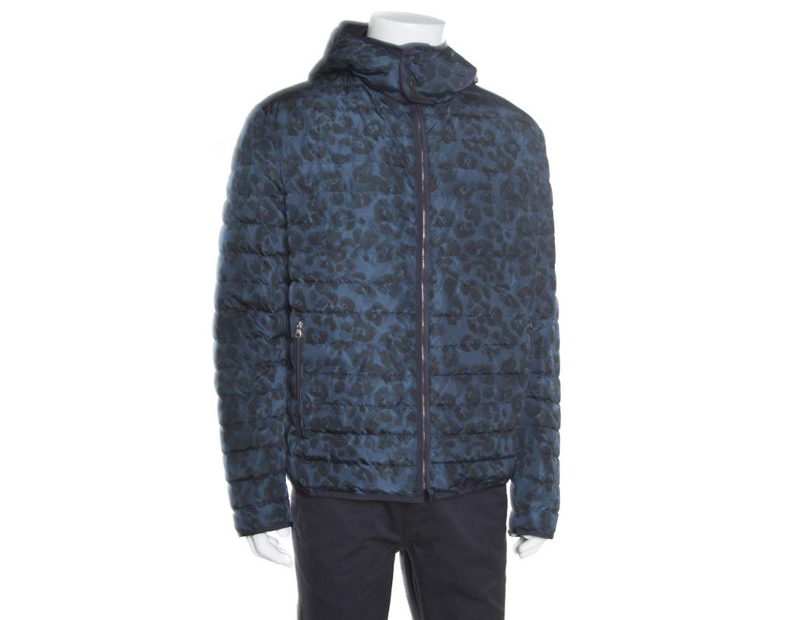 41c1d01c78 Men's Blue Camo Print Hooded Zip Front Quilted Down Jacket Xxl