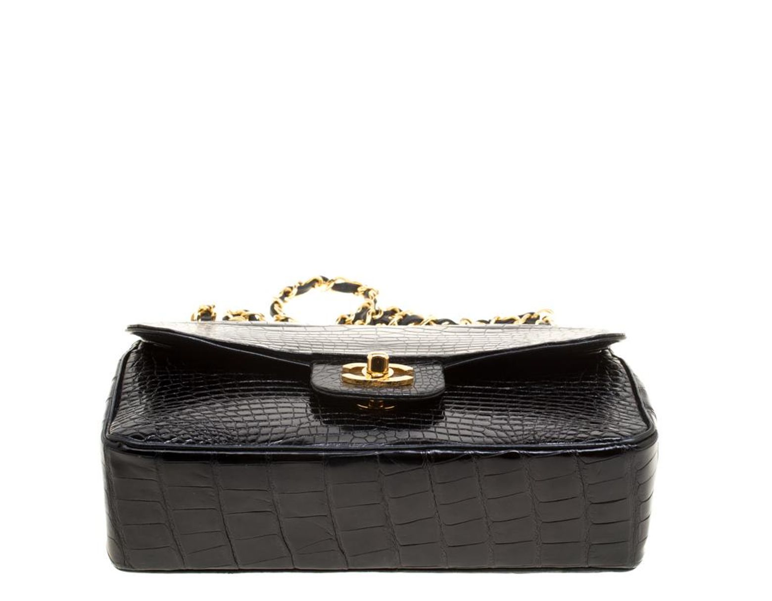 f4d89334f1bf66 Chanel Black Alligator Small Vintage Classic Double Flap Bag in Black - Lyst