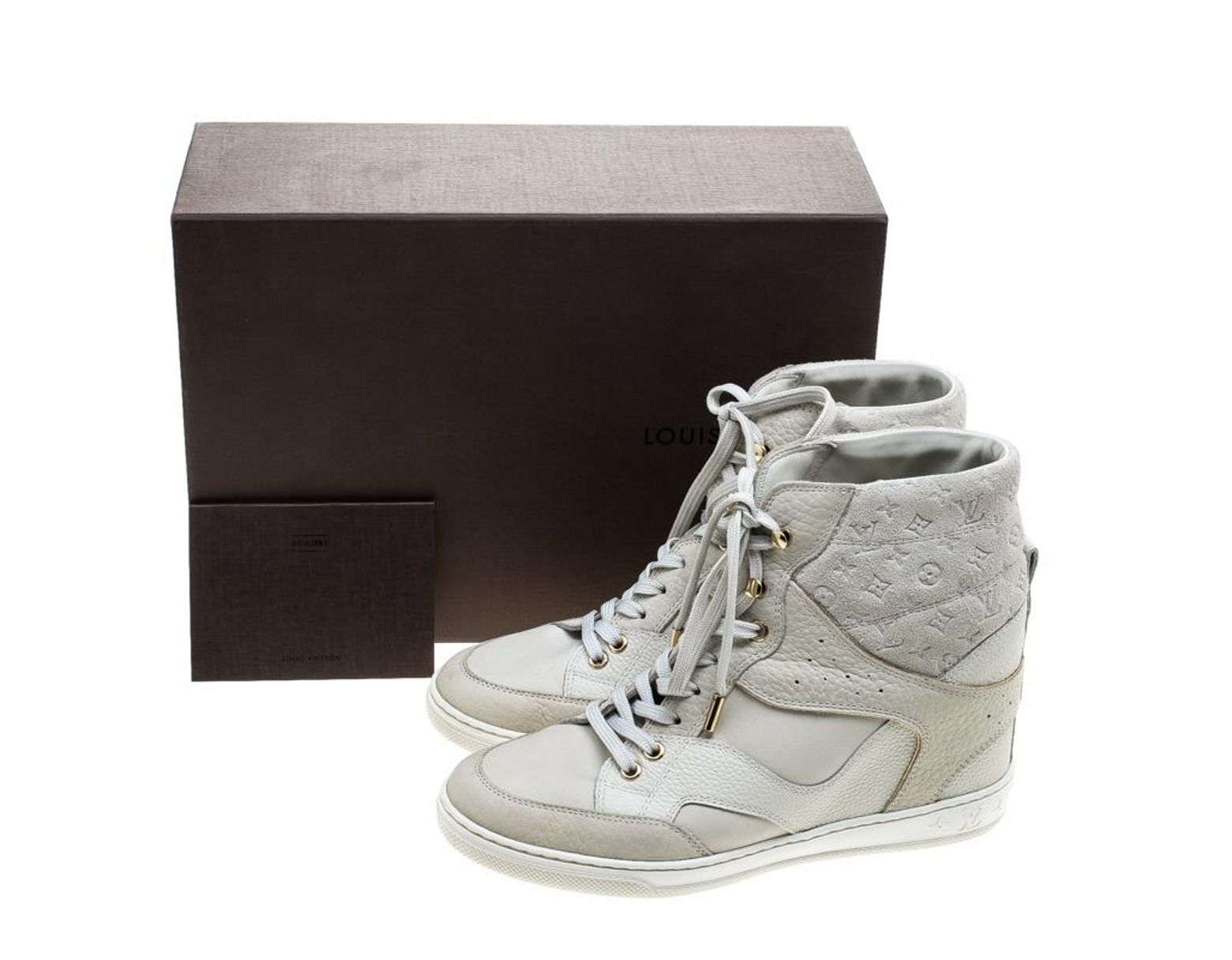 7a55f1ff80e Women's Off White Monogram Suede And Leather Cliff Top Sneakers Size 37