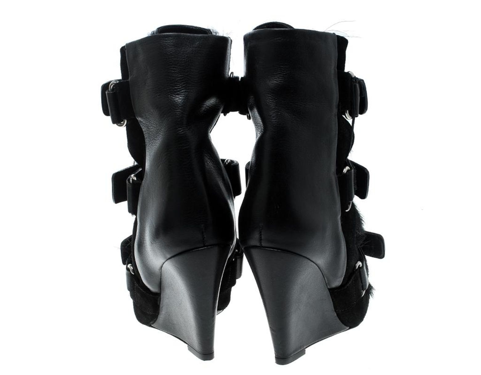 63a2854080dcb Isabel Marant Black Suede And Calf Hair Scarlet Wedge Boots Size 36 in Black  - Lyst