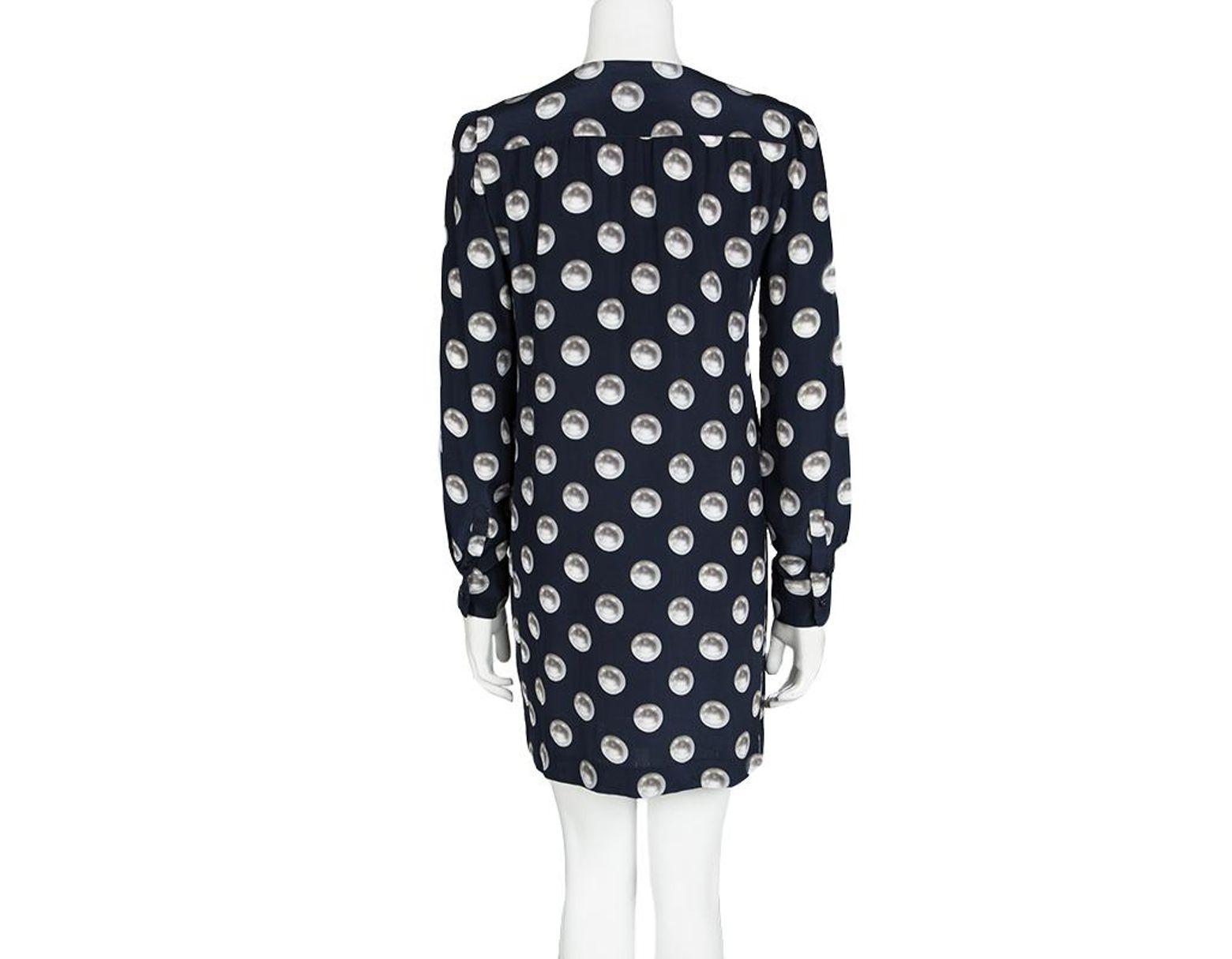 Moschino Navy Blue Silk Pearl Print Long Sleeve Dress M in