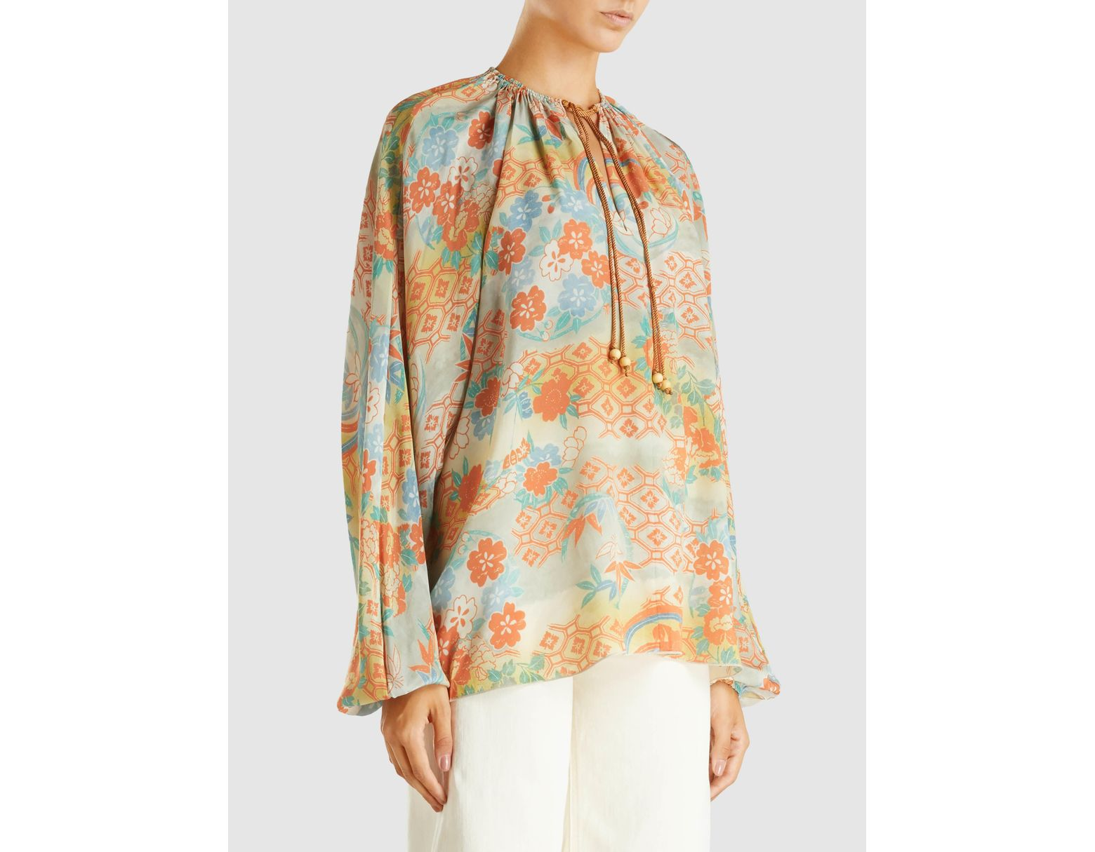 d1f70ba1de4f48 Elizabeth and James Chance Printed Long Sleeve Silk Blouse - Lyst