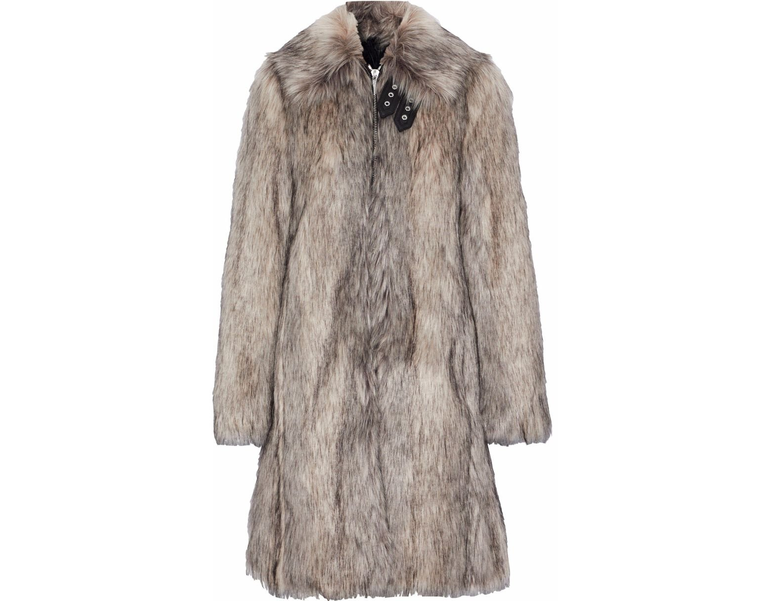 Wolf Fur Coat >> Women S Wolf Leather Trimmed Faux Fur Coat Mushroom