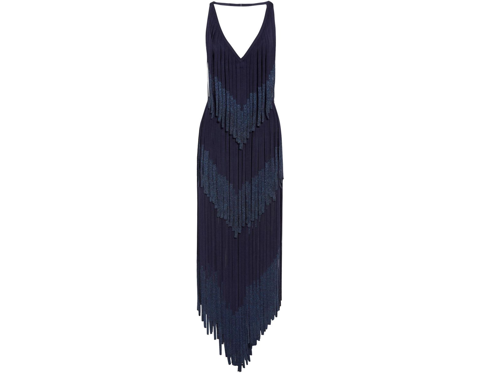 3b8ce9e0a76 Hervé Léger Hervé Léger Woman Izabel Open-back Fringed Metallic Bandage  Midi Dress Midnight Blue in Blue - Lyst