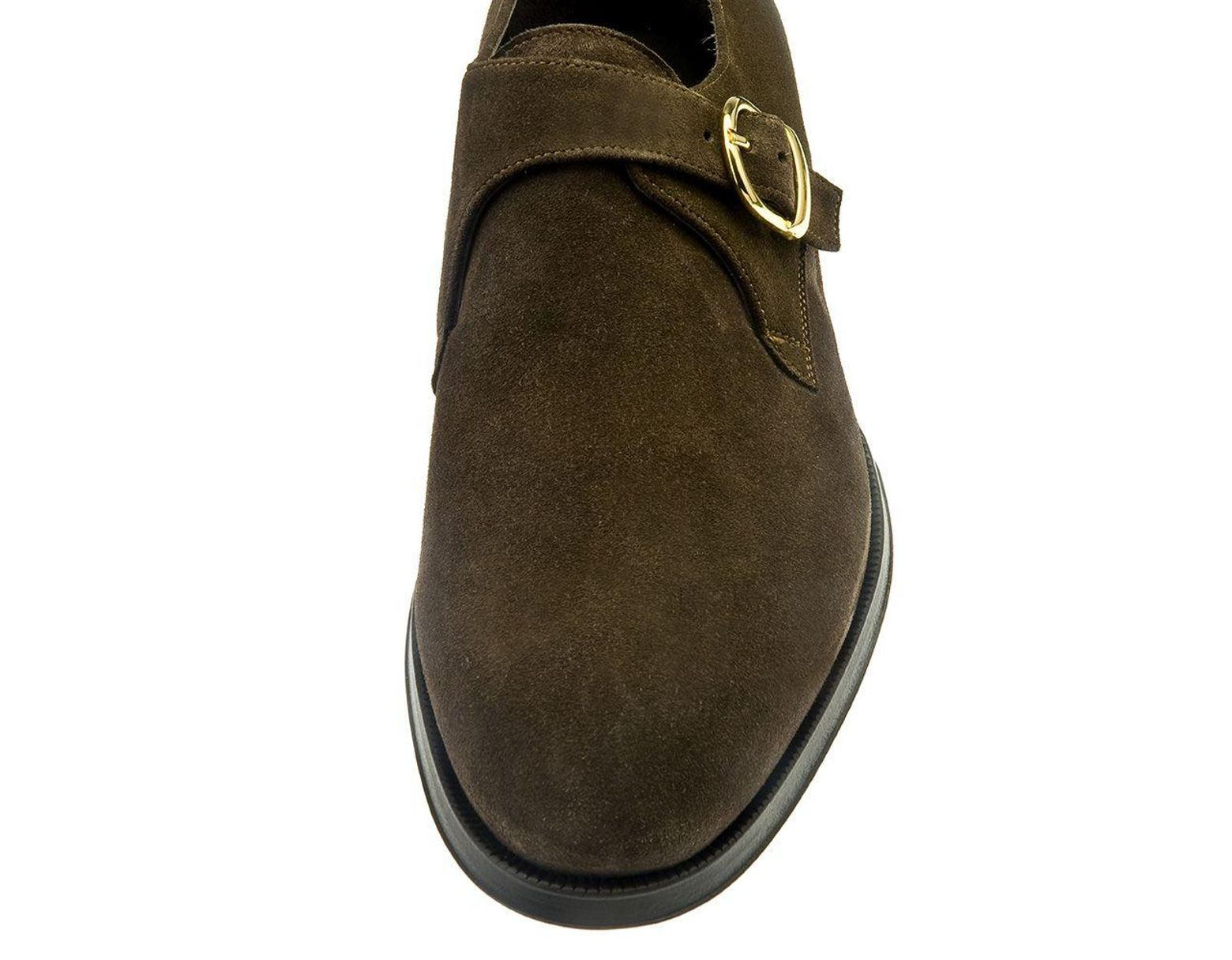 5c011c1b9e41 Lyst - Belsire Brown Rodolfo Suede Single Buckle Monk Strap Shoes in Brown  for Men