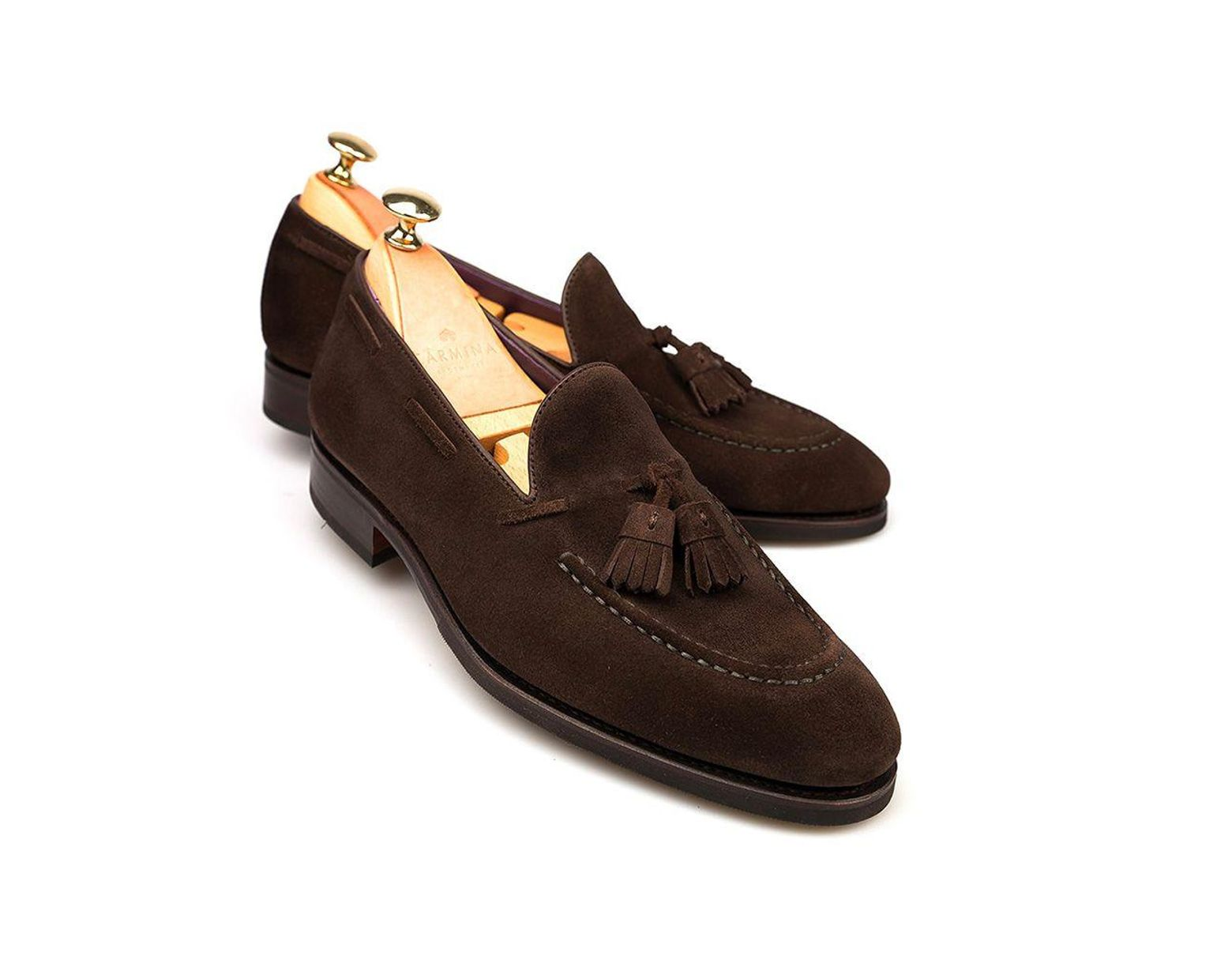 9591778656885 Carmina Brown Suede Tassel Loafers in Brown for Men - Lyst