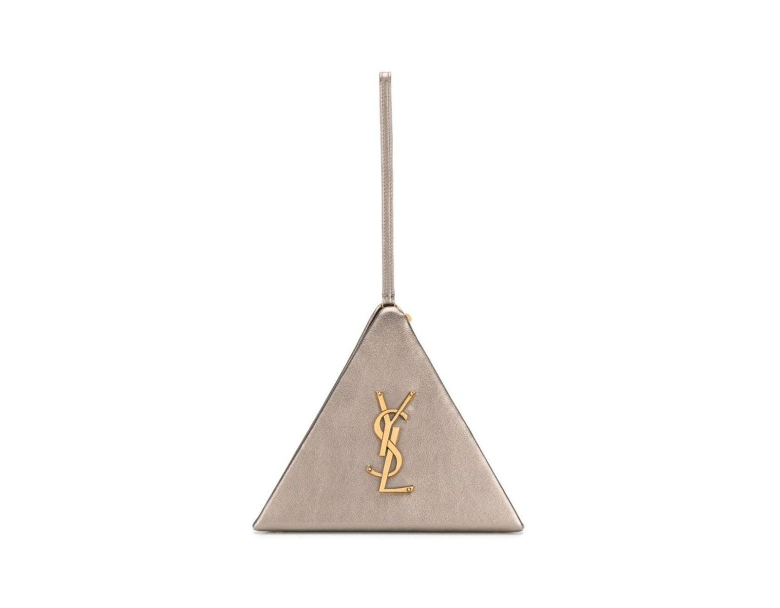 4d18c2b64b Saint Laurent Ysl Pyramid Metallic Hand Bag Grey in Gray - Lyst