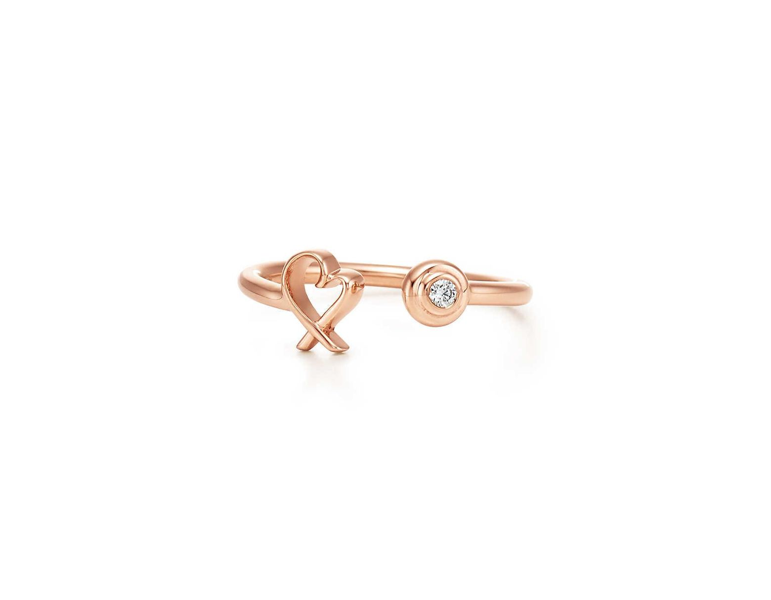03a865c1c63cf Tiffany & Co. Paloma Picasso® Loving Heart Wire Ring In 18ct Rose Gold With  Diamonds - Size 7 1/2 in Pink - Lyst