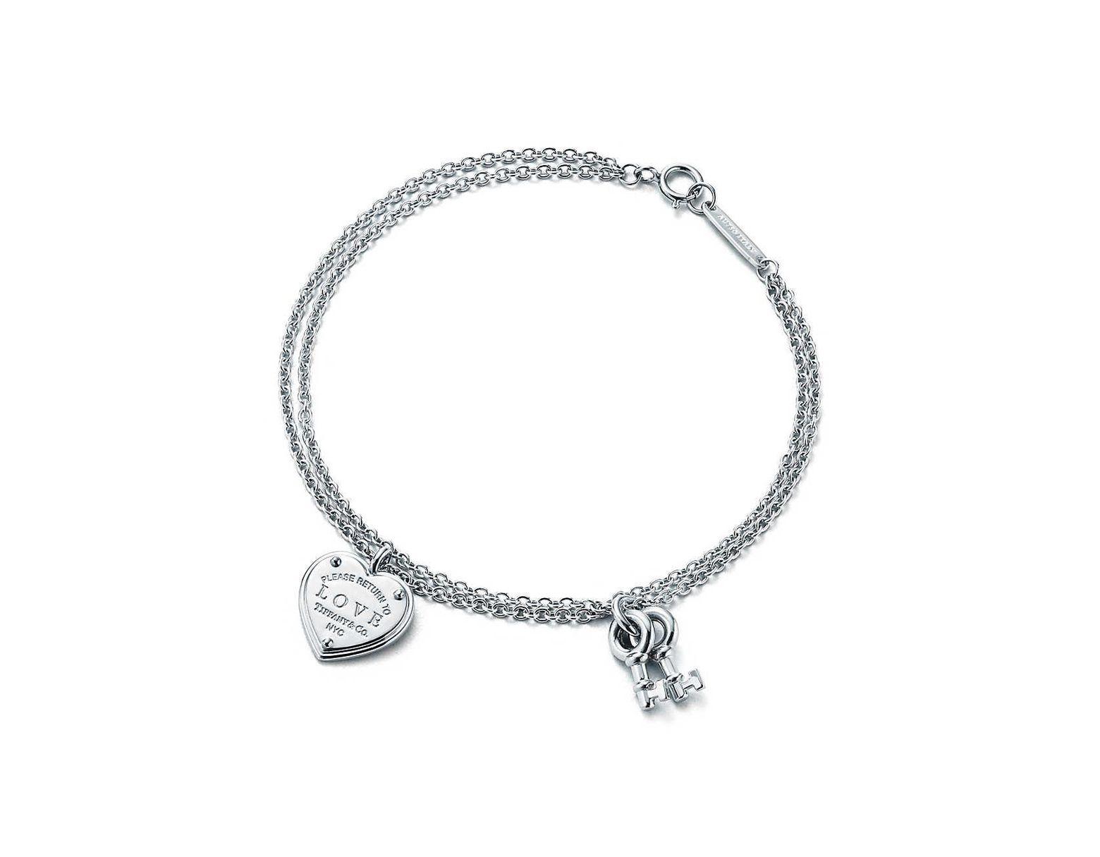 70492de99 Tiffany & Co. Love Heart Tag Key Bracelet in Metallic - Lyst