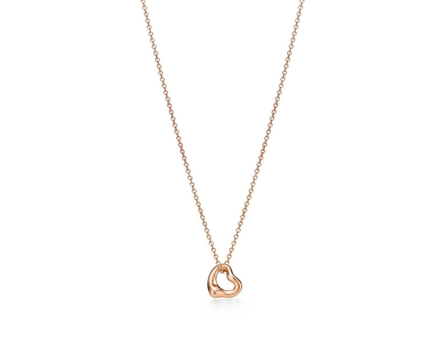 4ba8564ba Tiffany & Co. Elsa Peretti® Open Heart Pendant In 18k Rose Gold in Metallic  - Lyst